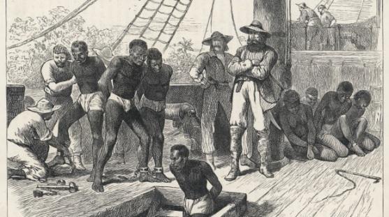 Scene on board a slave ship. Date: circa 1830
